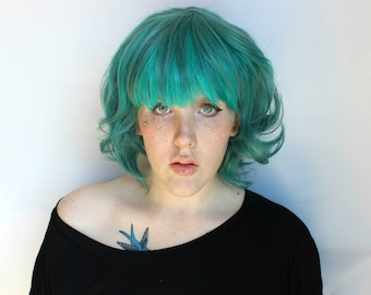 Teal wig. Wavy Curly Medium Teal Green wig. Teal Scene wig. Cosplay wig. Short Teal Scene Emo wig // Teal Twist