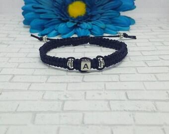 Initial Macrame Bracelet, Macrame Bracelet, Macrame Jewelry, Bracelet, Woven Bracelet, Braided Bracelet, Adjustable Bracelet, Knotted