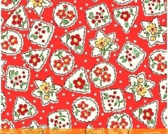 Storybook Christmas Red Snowflakes & Flowers 41748-3 by Whistler Studios for Windham Fabrics