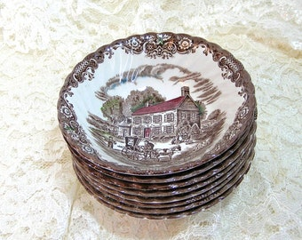 Johnson Brothers Heritage Hall, Transferware Cereal Blowls, English Ironstone Bowls
