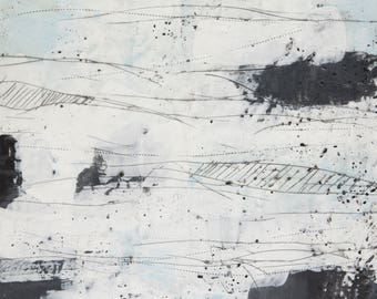 "Abstract Encaustic Painting // ""Winter Drive"""