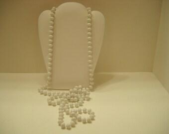 "Vintage 54"" White Plastic Beaded Necklace (2584)"