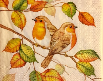 "3 Decoupage Napkins, Robins in Autumn 13"" x 13"""