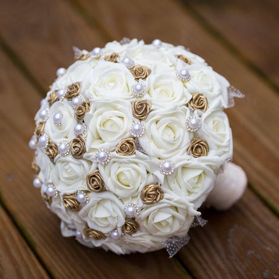 Vintage gold wedding bouquet ivory and gold bridal bouquet