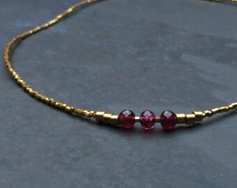 Tourmaline Gemstone Gold Beaded Necklace
