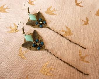 Long earrings, bronze and blue