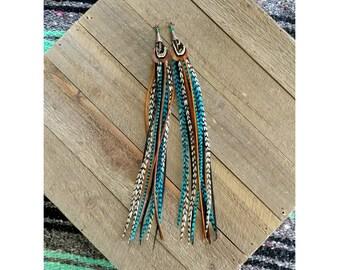 Long Feather Earrings/ boho earrings/ feathers/ statement earrings/ festival earrings/ wedding earrings/ boho feathers/ turquoise earrings