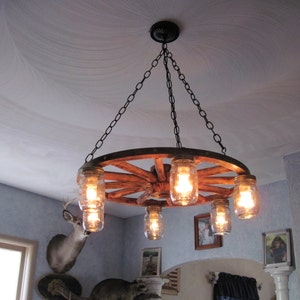 Large 36 Inch Wagon Wheel Chandelier