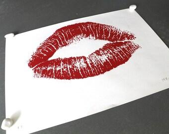 "Huge Vintage Silkscreen Print ""Kiss"" by Mark Koplan 30 x 22 inches c. 1981"
