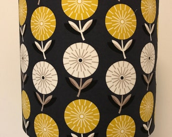 SALE Dark Grey Lamp Shade with Mustard and White Flowers