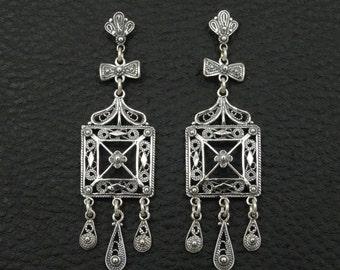 Filigree Earrings 925 Sterling Silver Greek Handmade Art Unique