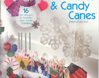 Christmas Winter Snowflakes Candy Canes Penny Rug Wool