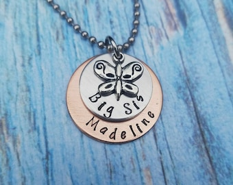 Big Sis Personalized Copper and Silver layered butterfly necklace - New Big Sister Gift - Girl Gift - Sister Announcement - Mixed metals