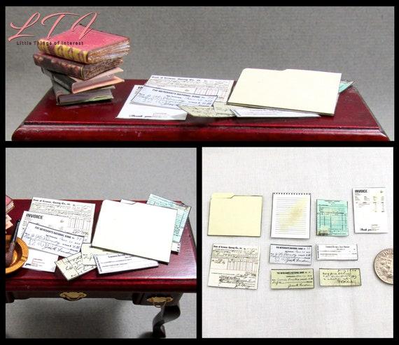OFFICE FILE FOLDER Receipts Invoice Bank Draft Miniature Dollhouse 1:12 Scale Desk Clutter