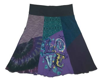 Love Upcycled Skirt Women XS S Size 0 2 4 One of a Kind Skirts Boho Hippie Skirt recycled repurposed yoga skirts Twinkle Skirts Twinklewear