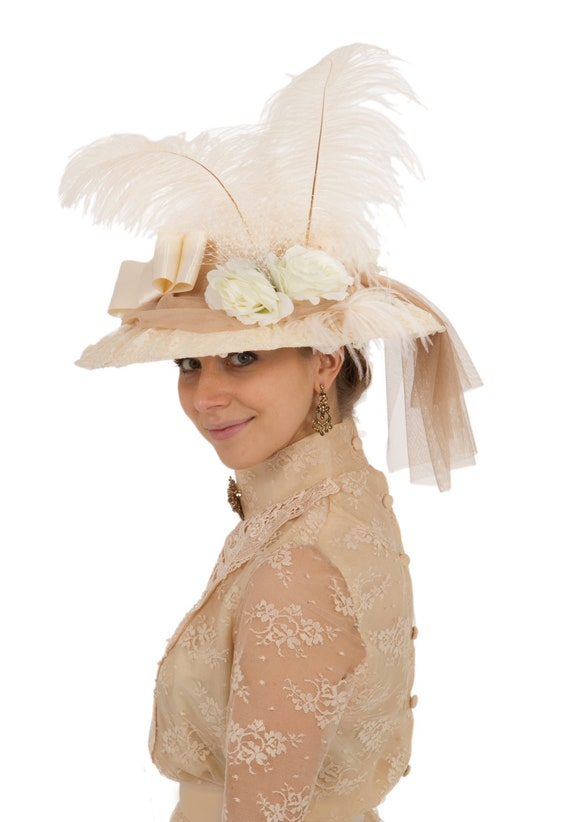 Edwardian Hats, Titanic Hats, Tea Party Hats Natasha Antique Lace Edwardian Hat $60.00 AT vintagedancer.com