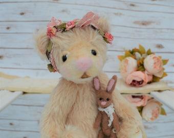 """Teddy Bear - artist bear with needlefelt bunny and gift box - """"Lilly Mae"""""""