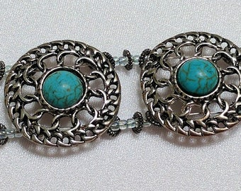 Bracelet, silver and turquoise