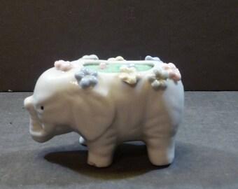 Pincushion Elephant - White porcelain with flowers