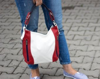 LEATHER HOBO Bag, SHOULDER Bag, Leather Purse, Red Blue Women's Handbag, Leather Handbag, Everyday Crossbody, Leather Bag Leather Laptop Bag