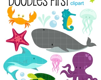 Underwater Creatures Sea Adventure Clipart Digital Clip Art for Scrapbooking Card Making Cupcake Toppers Paper Crafts