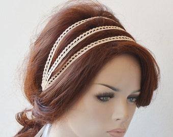 Lace Wedding Headband, Lace Bridal  Head Piece, Triple Lace Bridal Headband, Weddings Hair, Bridal Hair Accessories