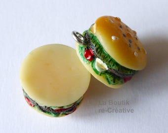 Yummy HAMBURGER Sandwich charm resin 15mm