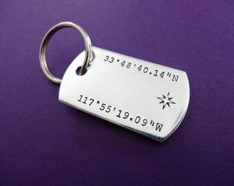 Latitude Longitude Keychain - Coordinates Keychain - Compass - Dog Tag Keychain