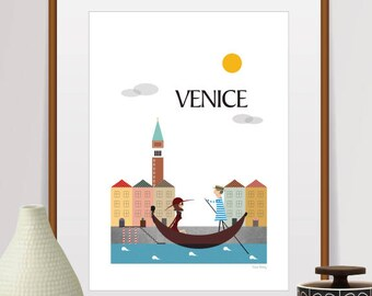 city prints, mid century modern art, travel poster, city Illustration, wall decor, home decor, city poster, venice print, city art, travel