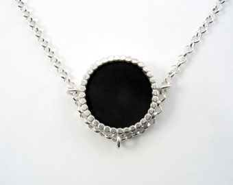 Versatile Black Onyx pendant in sterling silver, can be wear both sides,day and night necklace,match every outfit and make a statement daily