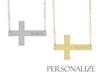 Personalize Cross necklace Engraved - Sideway Cross, name Cross necklace, Christmas gift for mom sister, birthday gift CR04