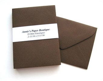 10 Mini Envelopes - Chocolate Brown -Card Making, Paper Crafting, Gift Cards, Tags, Souvenirs, Mementos, Notes, Gift Giving