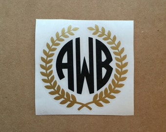 Laurel Wreath Monogram Decal | Circle Monogram Decal | Decal Sticker | Two Color Decal | Laptop Decal | Car Decal