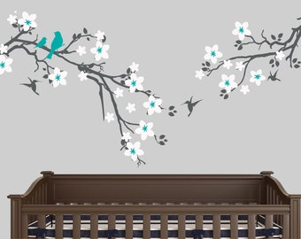 Cherry blossom wall decal kids wall sticker nursery wall decor custom colors