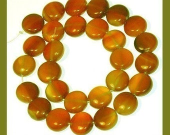 16 inches  strand Red Agate puff coin 14mm