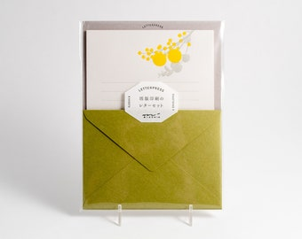 Midori letterpress stationery set, green envelopes and yellow bouquet paper