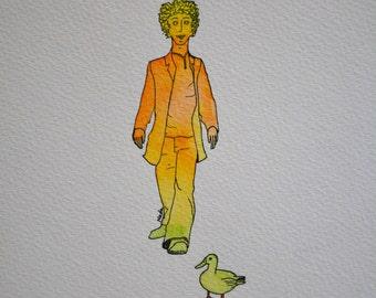 Freunde, original Zeichnung, Tusche, Aquarell, Mann, Ente, Tier, Freundschaft