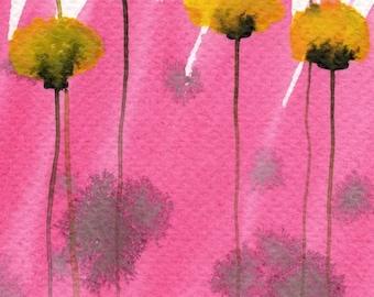 Watercolor Painting: Watercolor Flower Painting -- Art Print --  Pink Lemonade -- Yellow Flowers -- 5x7
