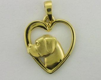 Boxer Heart Pendant in 14k Gold