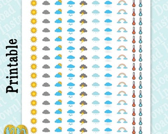 Weather Tracker Printable Planner Stickers, Weather Tracking stickers, DIY Planner Sticker Printables, Instant Download, clouds, sun, rain