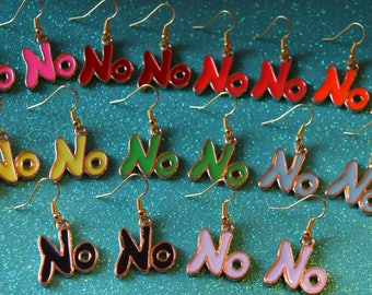 NO means NO Earrings ~ Choose color ~ Gold plated girl power feminist jewelry