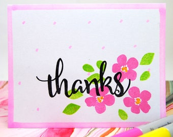 "CARD - Set of four (4) - ""Thanks"" - Pink flowers -  cards"