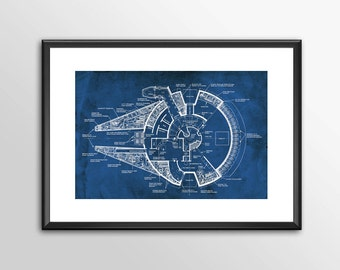 Millennium Falcon Blue Prints -  3 to choose from - Star wars  - PRINTED Boys and girls Geek man woman cave nerds bedroom office