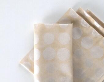 Large Cloth Napkins, Set of 4 - Cream Metallic Orbs, Modern, 100% Cotton