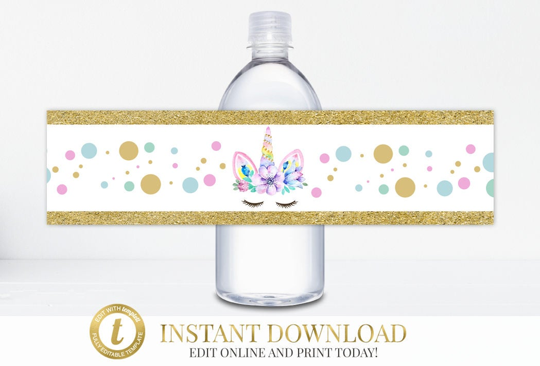 Instant Download Unicorn Party Water Bottle Labels