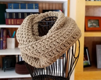 Thick and Chunky Infinity Scarf, Marie Scarf, Warm Crochet Scarf, Handmade in wool/Acrylic yarn in Camel Tan, Sandstone Tan