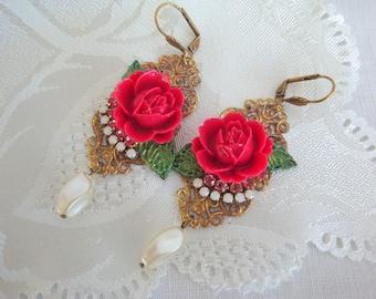 earrings vintage red rose