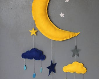 Mobile large Moon and clouds wall decor