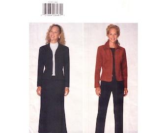 Jacket Skirt Pants Pattern Butterick 5235 Zipper Front Trouser Suit Womens Size 8 10 12 Sewing Pattern UNCUT