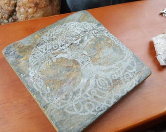 Laser Engraved Stone Tile for Alters or Shrines/Pagan Alter Plate/Natural Slate Stones/Tree of Life/Witchcraft Supplies/Offering Stone/Wicca